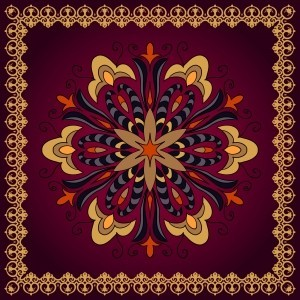 mandala, for the design of tablecloths, napkins, pillows,