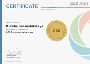 Certificate CSS Fundamentals course